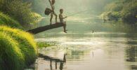 Asia, Niños, Camboya, Peces, Pescador, Pesca, Amigo