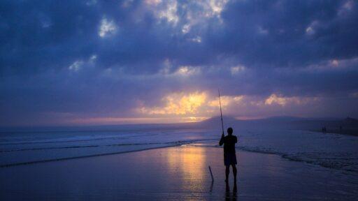 Pescador, Playa, Mar, Pesca, Tierra, Océano