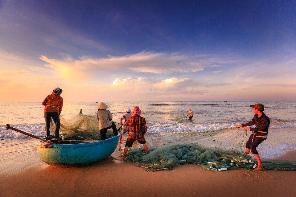 Pescadores, Pesca, Mar, Asia, Vietnam, Red De Pesca